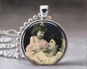 Vintage Mother and Daughter Child Altered Art Glass Dome Photo Pendant with Ball Chain Necklace, no. 009-17