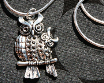 Tibetan silver Owl Pendant on a silver chain,owl jewelry, sterling silver, owl charms, large owl charm, large owl pendant, silver owl