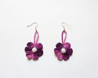 Purple Multicolor Crochet Earrings, Crochet Flower Earrings, Crochet Jewelry,  Eco friendly, Woman, Girl
