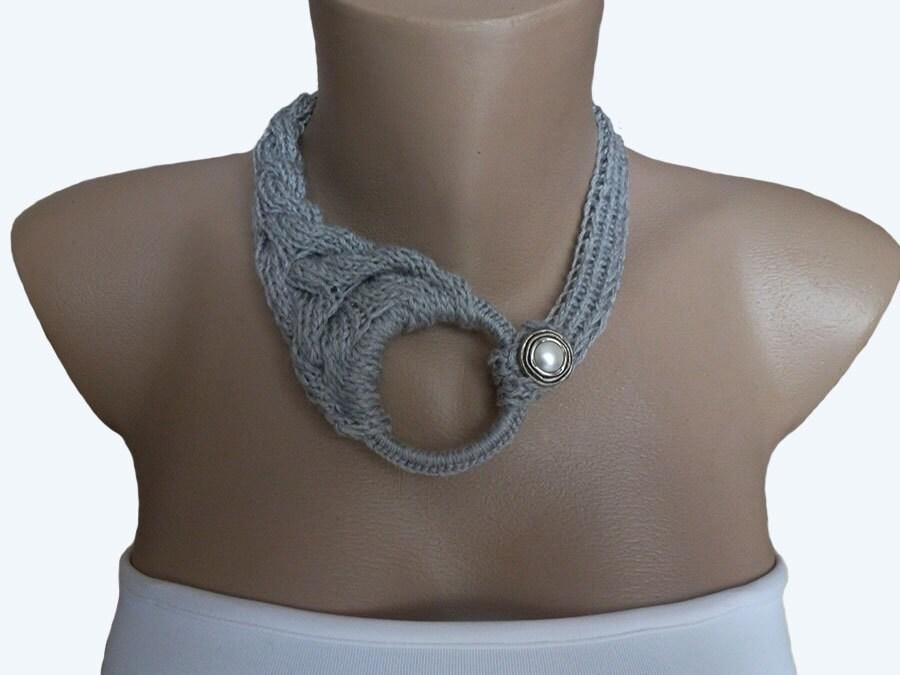 Grey Knit choker necklace Knit Necklace Knit Crochet by atinqnka