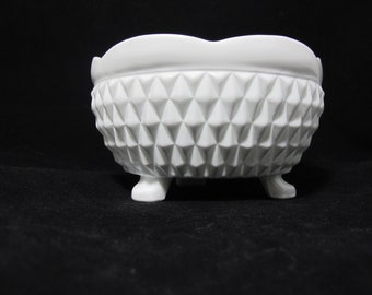 Vintage Milk Glass Footed Bowl with Diamond Pattern