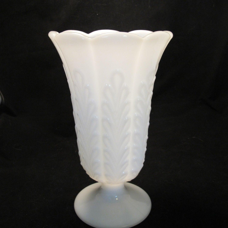 Vintage oak leaf pedestal milk glass vase wedding decor