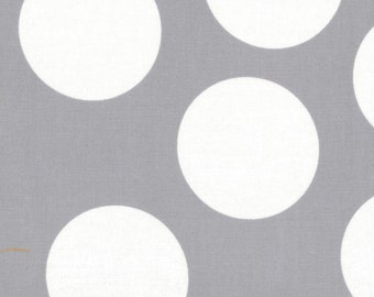 Gray and White Large Polka Dot Patterned Fabric - Half Moon Modern by Moda 1 Yard