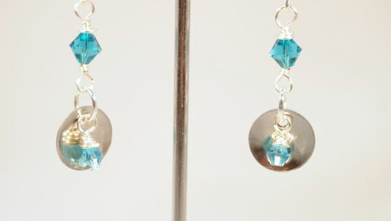 SALE, Metal Work, Silver and Crystal Earrings,  Silver and Teal Dangling Pierced Earrings   CKDesigns.us