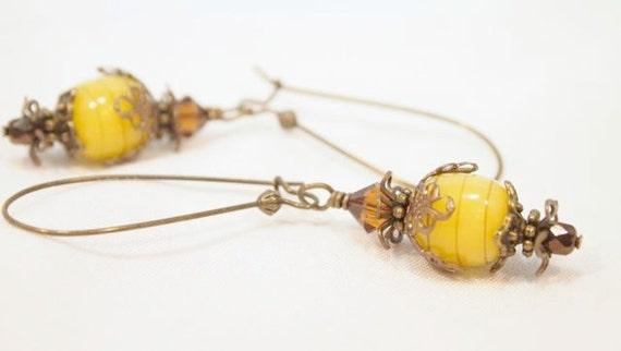 Victorian Style Brass, Lampwork and Crystal Beaded Pierce Earrings. Great Fall look.