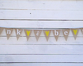 Eat drink and be married burlap banner - wedding garland - wedding decor