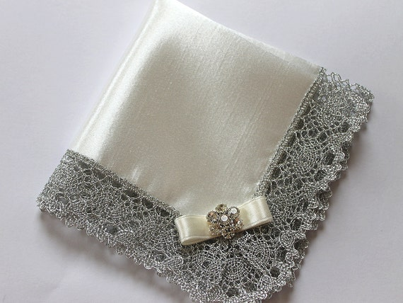 Wedding Hanky, Bride, Mother of Bride/Groom Gift, White or Ivory Bridal Satin Handkerchief w/ Silver Lace & Flower Rhinestone