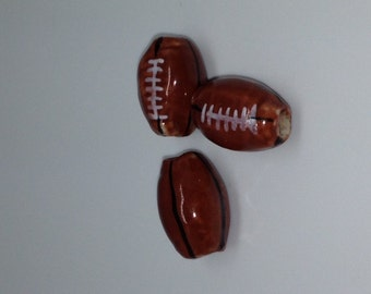 10 Ceramic Football Beads