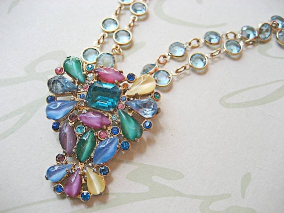 Repurposed OOAK Vintage Multi-Colored Stone & Gold Statement Necklace