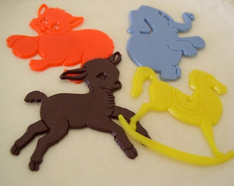 Vintage Trace-It Stencils Animal Cake Toppers