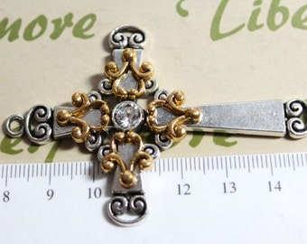 1 pc per pkg - 70x46m 2 Tone Decorated Cross Pendant Antique Gold Finish and Antique Silver Lead Free Pewter