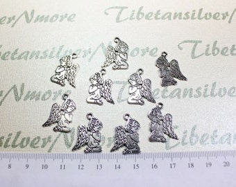 12 pcs per pack 24x18mm Angel Charms Antique Silver Lead free Pewter.