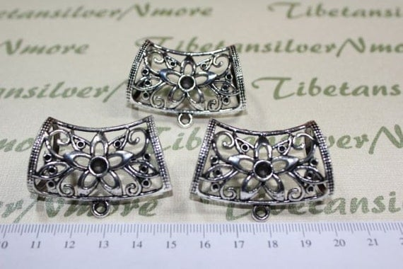 3 pcs a pkg of 37x16mm Extra Large Scarf Bail Filigree Flower Pewter Antique Silver