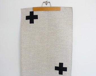 Linen Cross tea towel in black on natural