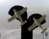 Vintage Fun Retro Novel Diecast Enamel Airplane Post Earrings