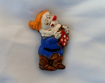 Vintage Original 1938 Walt Disney Snow White - Sneezy Pin.  Wood, Paint.  C Clasp Back.  Signed.