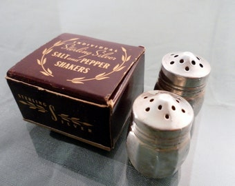 Vintage 1960's Sterling Silver Small Travel Salt and Pepper Set In Original Box.  Marked Sterling