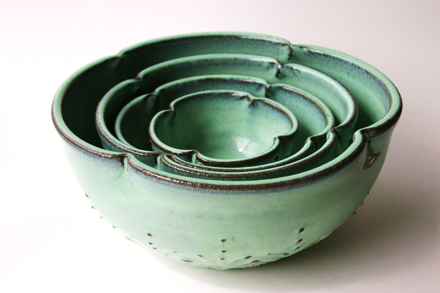 Ceramic Nesting Bowls Set of 4 Serving Dishes by ...