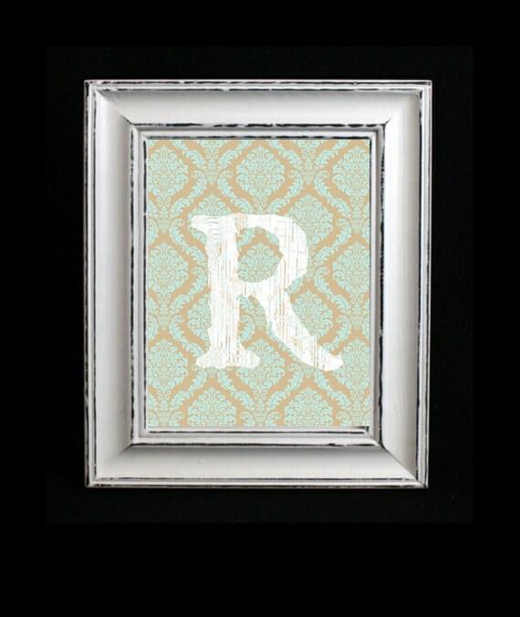 Letter Art Print, Monogram Art, Distressed Letter, Damask Background, Custom Letter Art