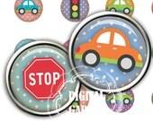 Polka dots with cars Digital collage sheet Pendant 1 inch tile design scrapbooking bottle cap  Buy 2 GET 1 Free