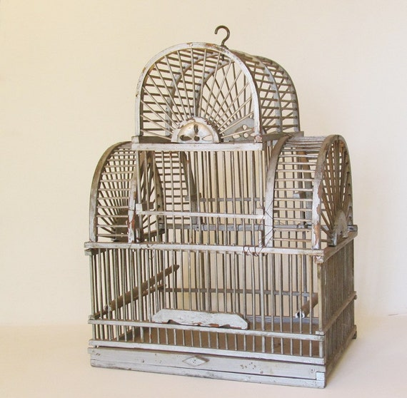 SOLD reserve for Chris - Vintage Birdcage Victorian Wooden Bird Cage Domed Metallic Painted Wood