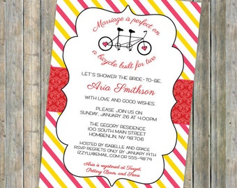 bicycle couples shower invitation, tandem bike, built for two, printable, digital file