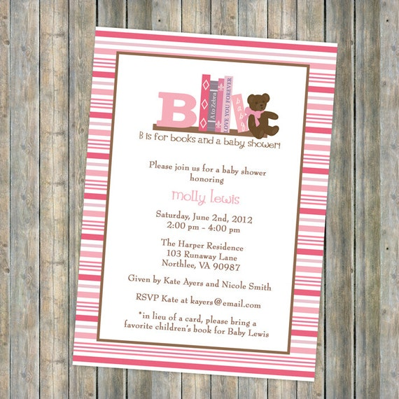book baby shower invitation in lieu of a card please bring a children