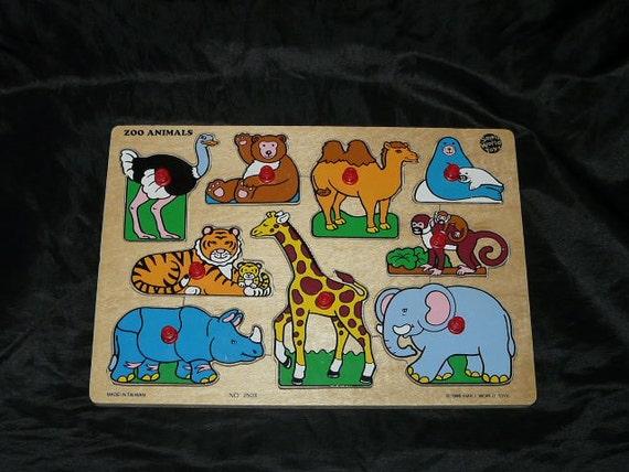 Zoo Animals Wood Tray Puzzle Small World Toys Wooden Giraffe