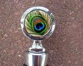 Peacock Feather Bird Nature Wedding Wine Stopper House Warming Gift Bridal shower