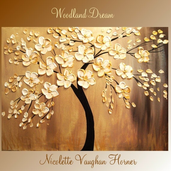 ORIGINAL  gallery wrap canvas  modern mixed media impasto floral  fine  art   painting   by Nicolette Vaughan Horner
