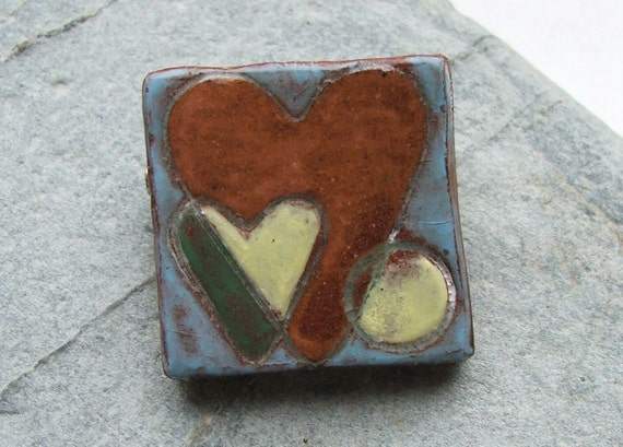 Terracotta Ceramic Clay Pottery Painted Heart Brooch