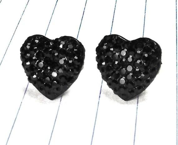 black heart earrings - black earrings - heart earrings - black studs - black jewelry - heart studs - heart jewelry - heart - resin - weddin