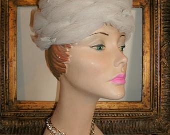 Vintage 1960's Marta-Lu Pale Grey Netting Hat with Velvet Bows