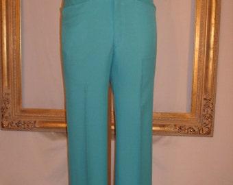 Vintage 1970's Turquoise Men's Trousers - Size 34