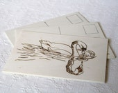 Swan Postcard A6 BLANK  (wooden card)