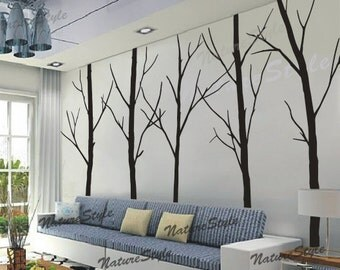 winter Wall Decal trees children nursery wall sticker baby living room wall decal wall decor children kids girl wall mural-Five Winter Trees