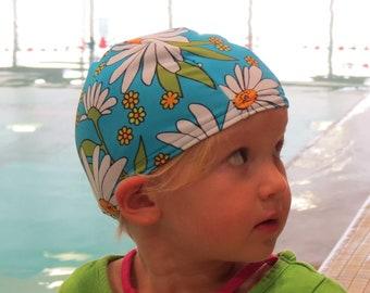 Lycra SWiM CaP - AQUA DAISY - Sizes - Baby , Child , Adult , XL - Made from Spandex / Swimsuit Swimming Fabric -by Froggie's Swim Caps