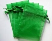 Set of 10 Emerald Green (3x4) Organza Bags