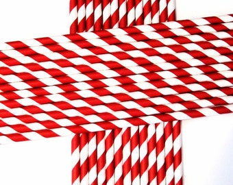 25 Paper Red & White Striped Straws - Free Printable Straw Flags