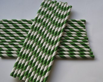 25 Paper Dark Green & White Striped Straws - Free Printable Straw Flags