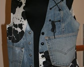 SALE Denim Vest Cow Print Cowgirl Halloween