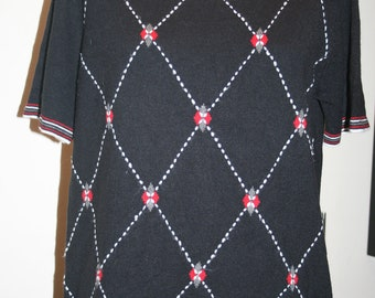 Classic Early 1980s Short Sleeve Sweater Pullover Top