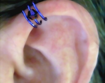 "No Piercing ""Triple Crown"" Ear Cuff for Upper Ear 1 Cuff Lots of Color Choices"