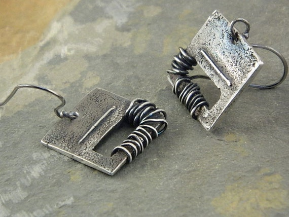 Reserved for Jess- Rustic Squares Earrings, Fine Silver  For Women