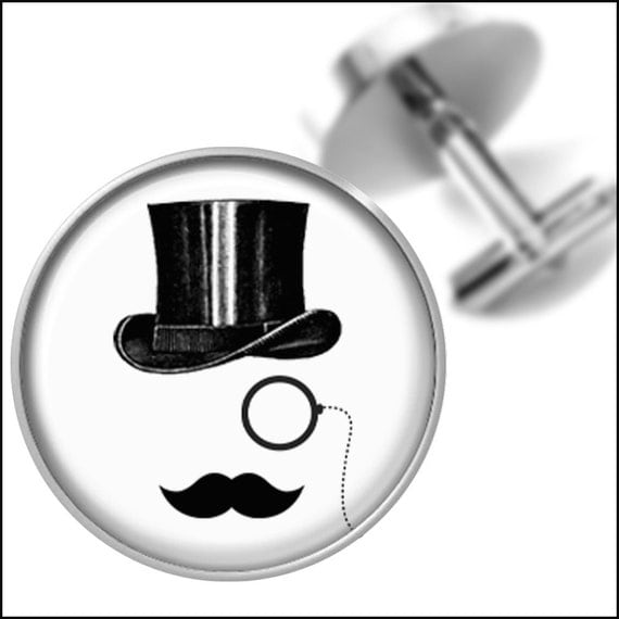 Items similar to Top Hat Monocle and Mustache Cufflinks ...