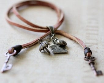 Natural Leather Cuff Bracelet - Lady bug Love Letter
