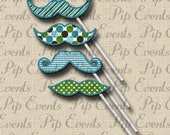 Mustache on a Stick Photo Prop for Little Man Mustache Bash Birthday Party - PRINTABLE