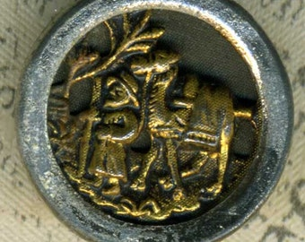 Vintage Metal Picture Button Man Camel 3/4 inch 18mm Desert Pilgrimage Pictorial Sewing Button