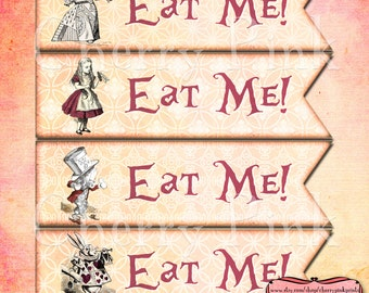Alice in Wonderland Cake Toppers, party decorations, Alice banner design digital collage sheet