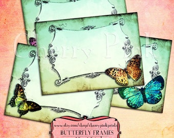 Butterfly tags, tea party tags, DIY printable tag, great for party tags, stickers and labels, INSTANT DOWNLOAD